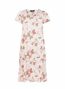 Pink Floral Print Long Nightdress, Pastel Multi