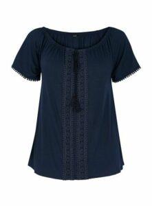 Navy Blue Crochet Detail Gypsy Top, Navy
