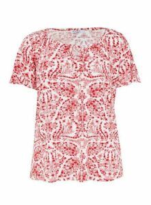 Ivory Floral Print Gypsy Top, White