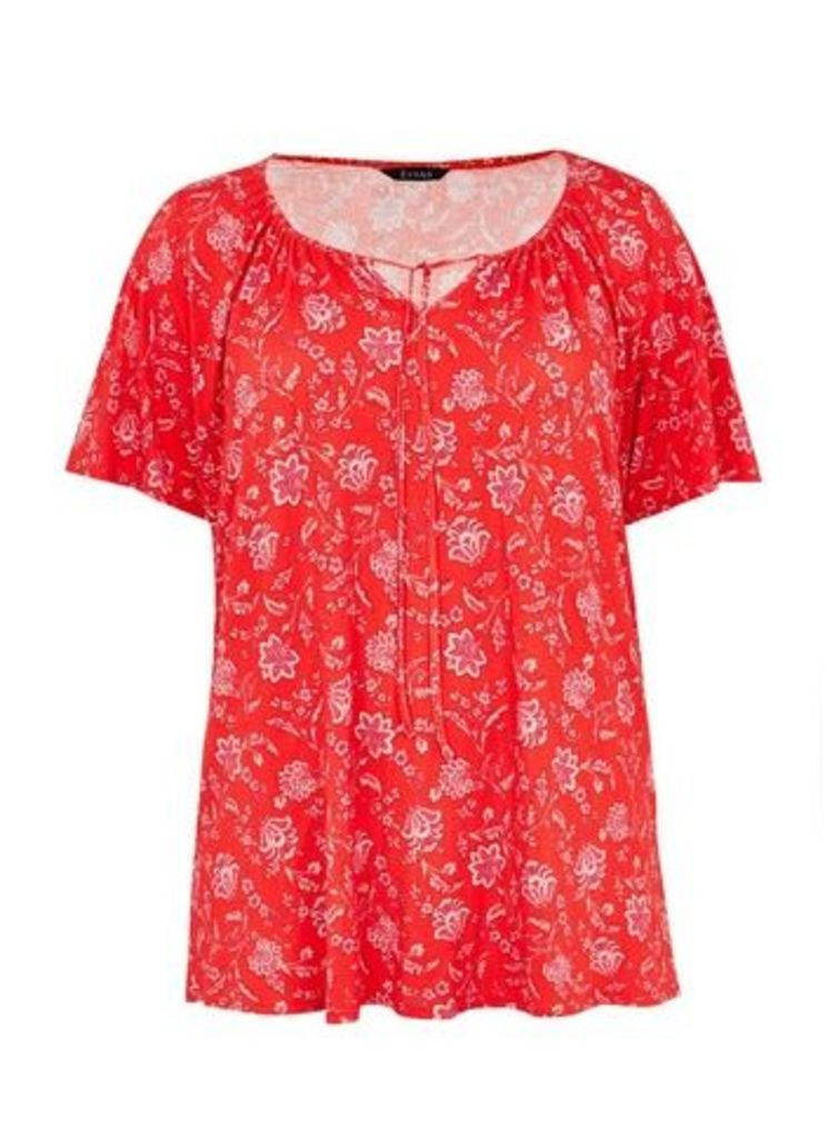 Red Floral Gypsy Top, Red
