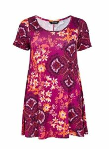 Pink Floral Print Swing Tunic, Others