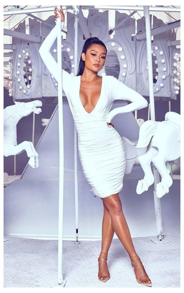 White Ruched Plunge Bodycon Dress, White