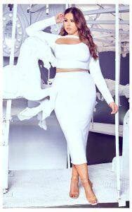 Plus White Midi Skirt, White