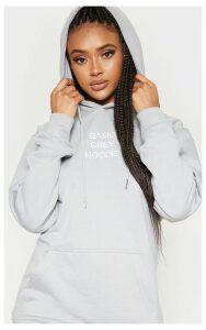 Dove Grey Basic Slogan Oversized Hoodie, Dove Grey
