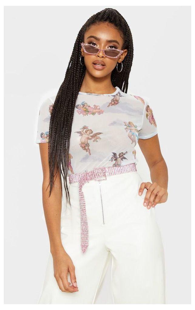 White Printed Mesh Short Sleeve Crop Top, White