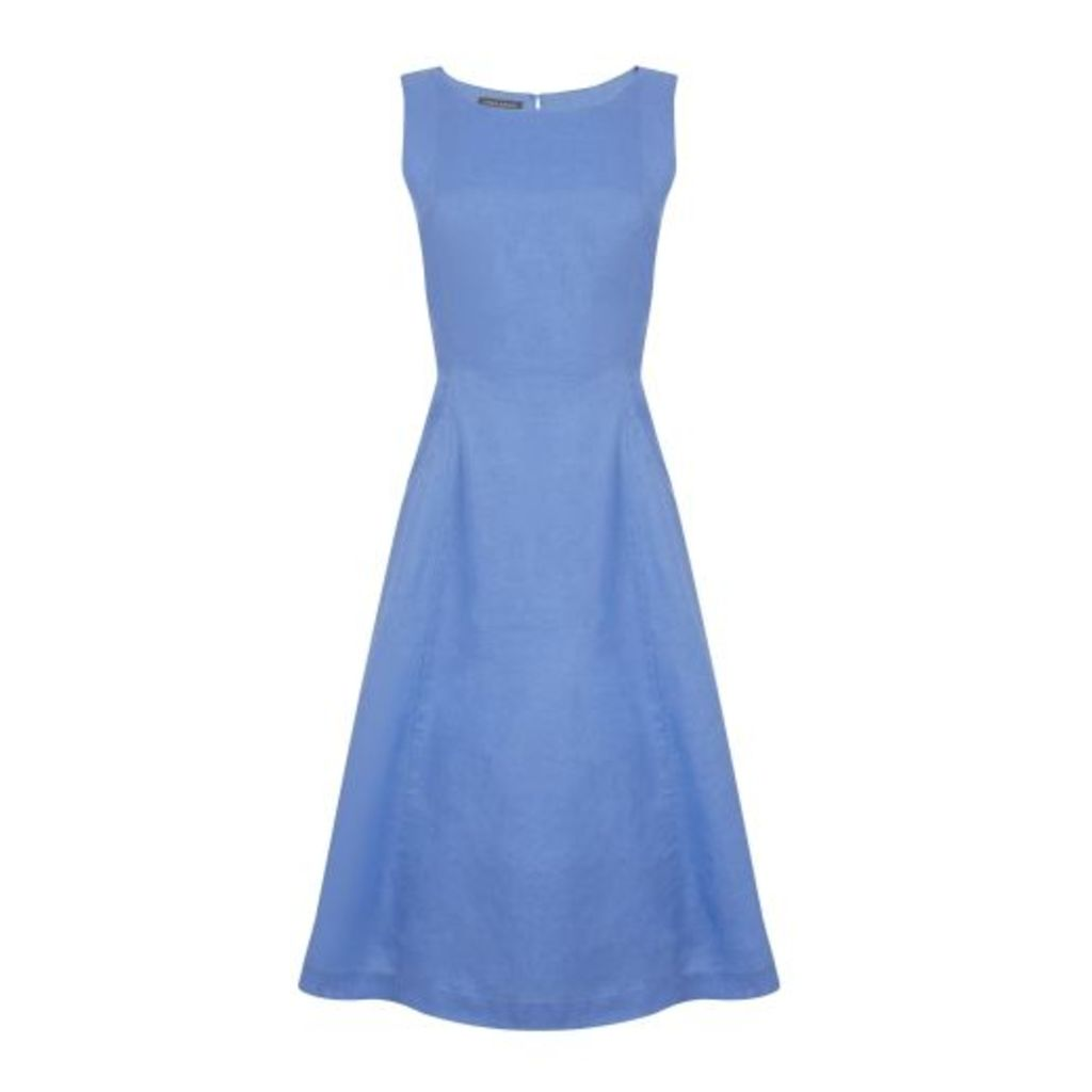 Blue Seam Detail Fit and Flare Linen Dress