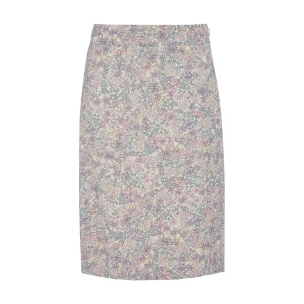 Linen ALine Clematis Garden Skirt
