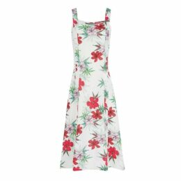 Tropical Floral Linen Sun Dress