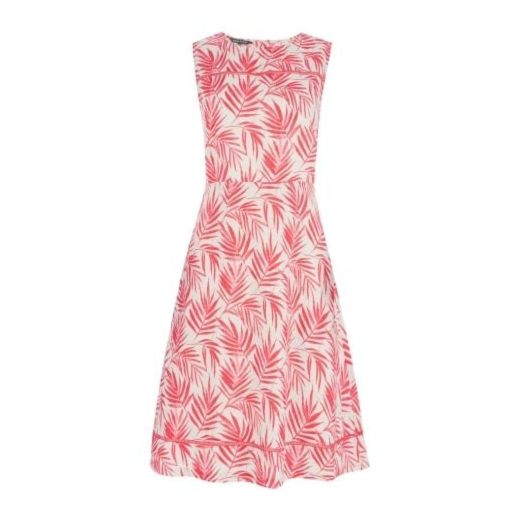 Summer Palm Print Fit and Flare Linen Dress