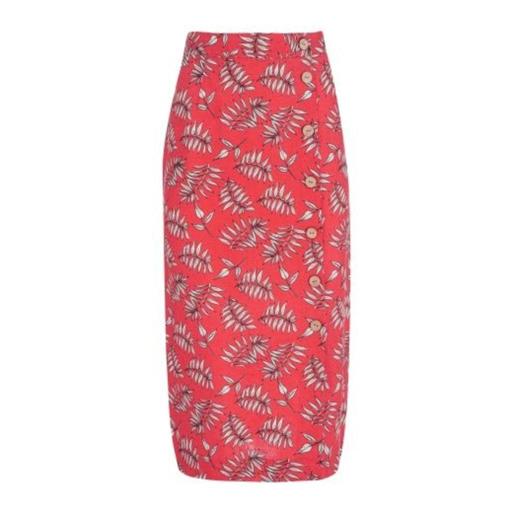 Falling Palm Linen Side Button Midi Skirt