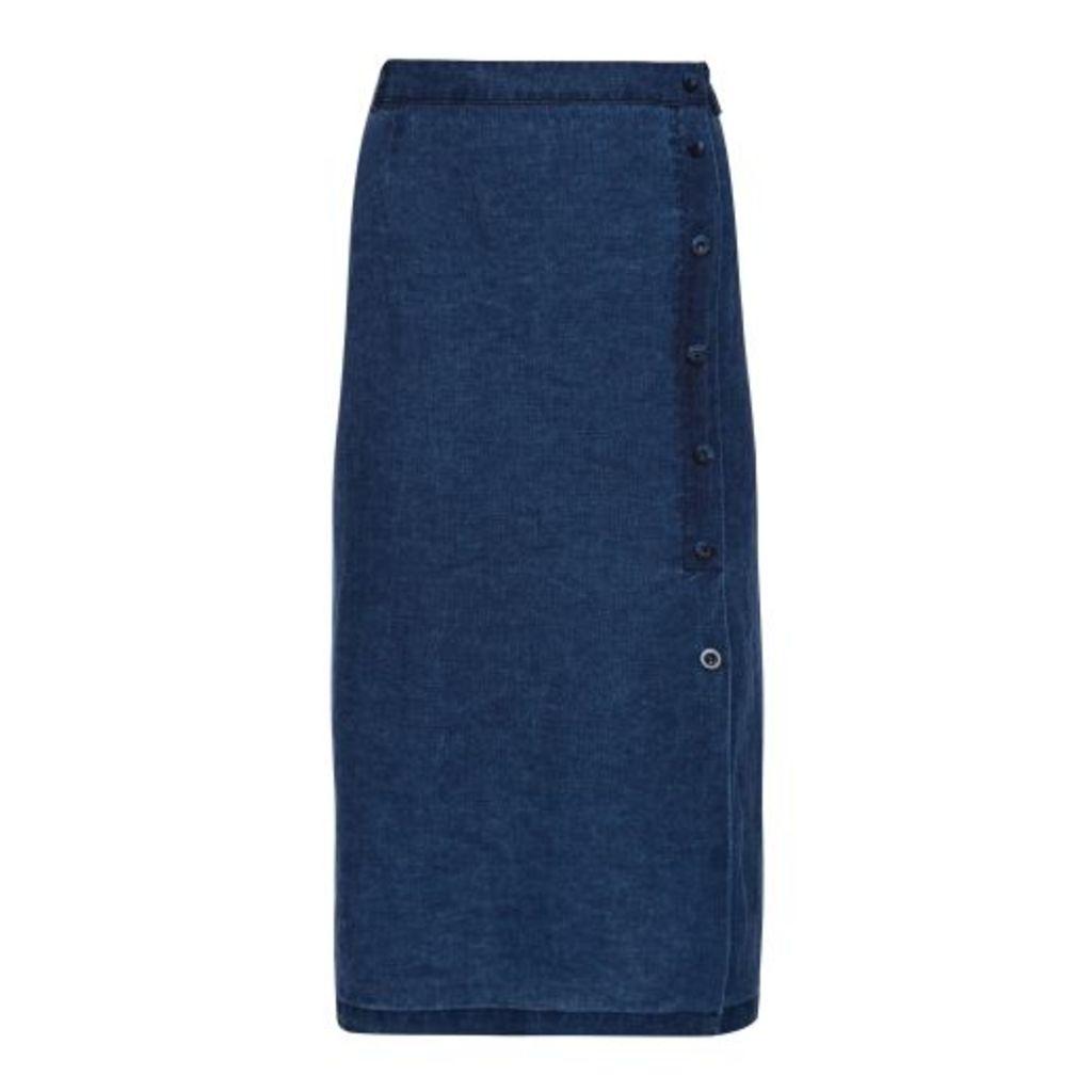 Textured Indigo Linen Side Button Midi Skirt