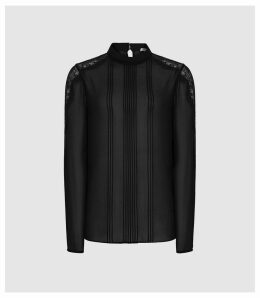 Reiss Marina - Pleat Detail Blouse in Black, Womens, Size 14