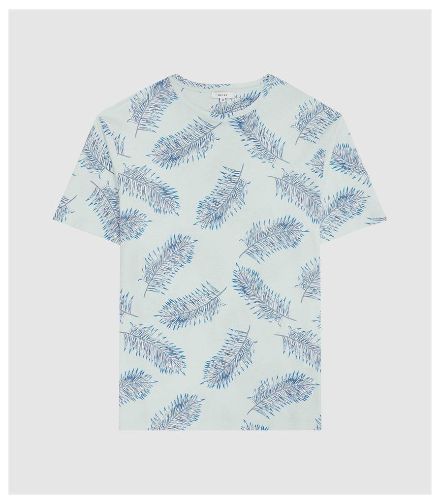 Reiss Rio - Feather Printed T-shirt in Soft Blue, Mens, Size XXL