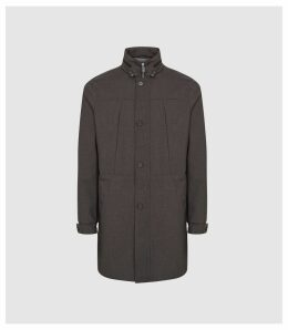 Reiss Tamworth - Technical Hooded Coat in Grey, Mens, Size XXL