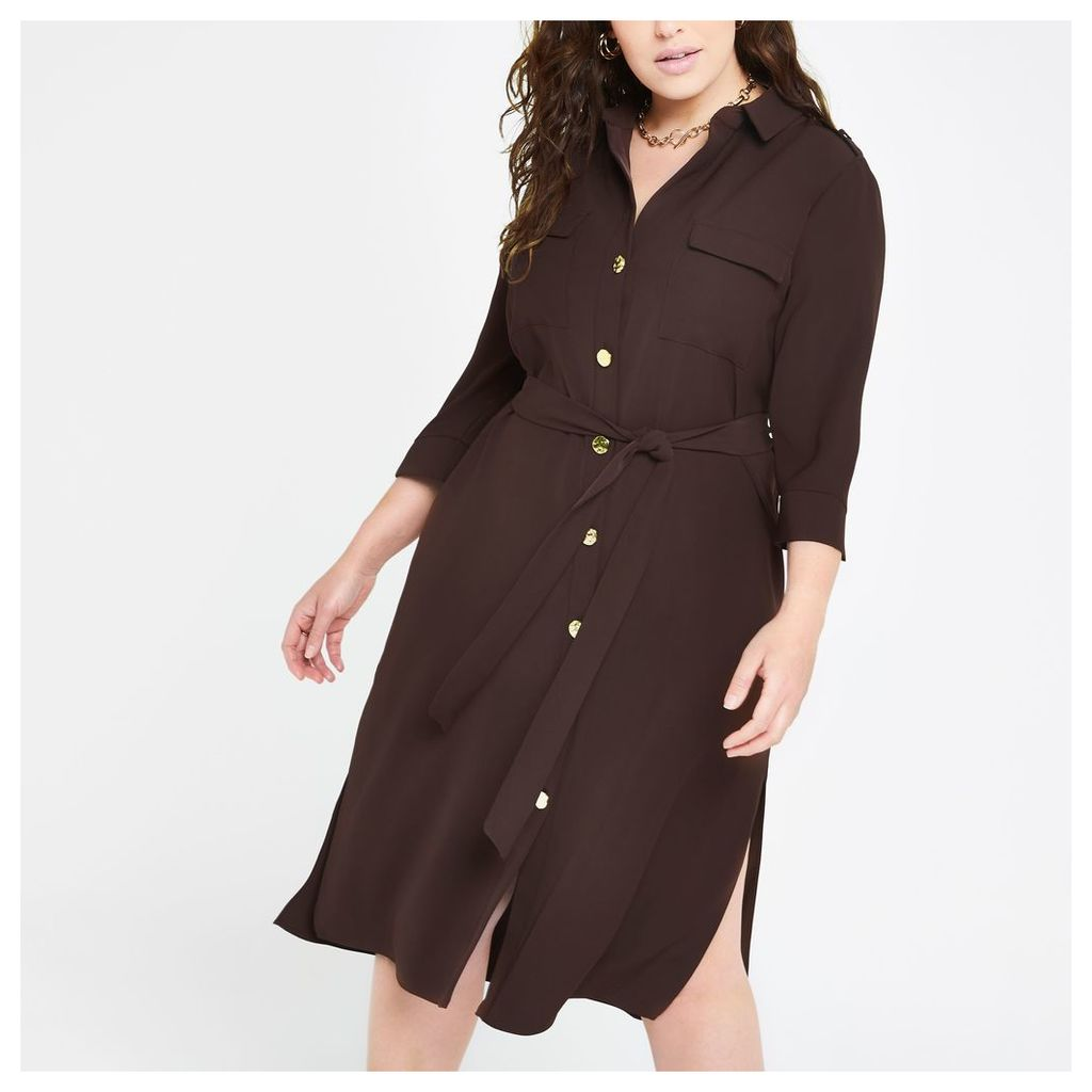 Womens Plus Brown tie waist shirt dress