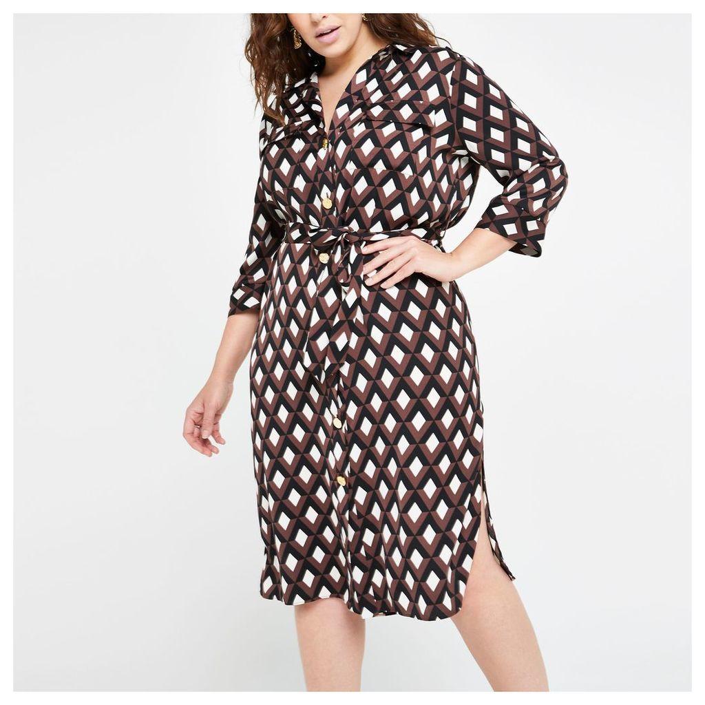 Womens Plus Brown print tie waist shirt dress