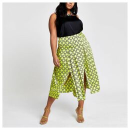 Womens Plus Green chain print pleated skirt