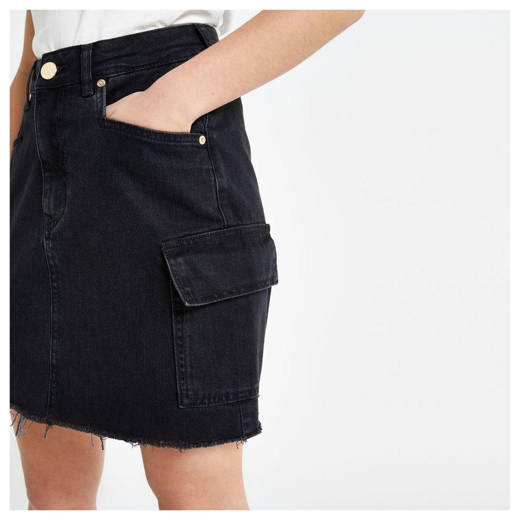 Womens Petite Black utility denim skirt