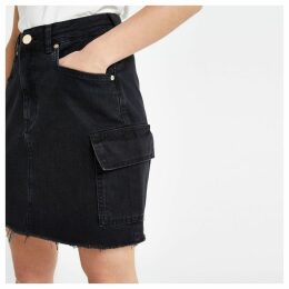 Womens Petite Black utility denim skirt