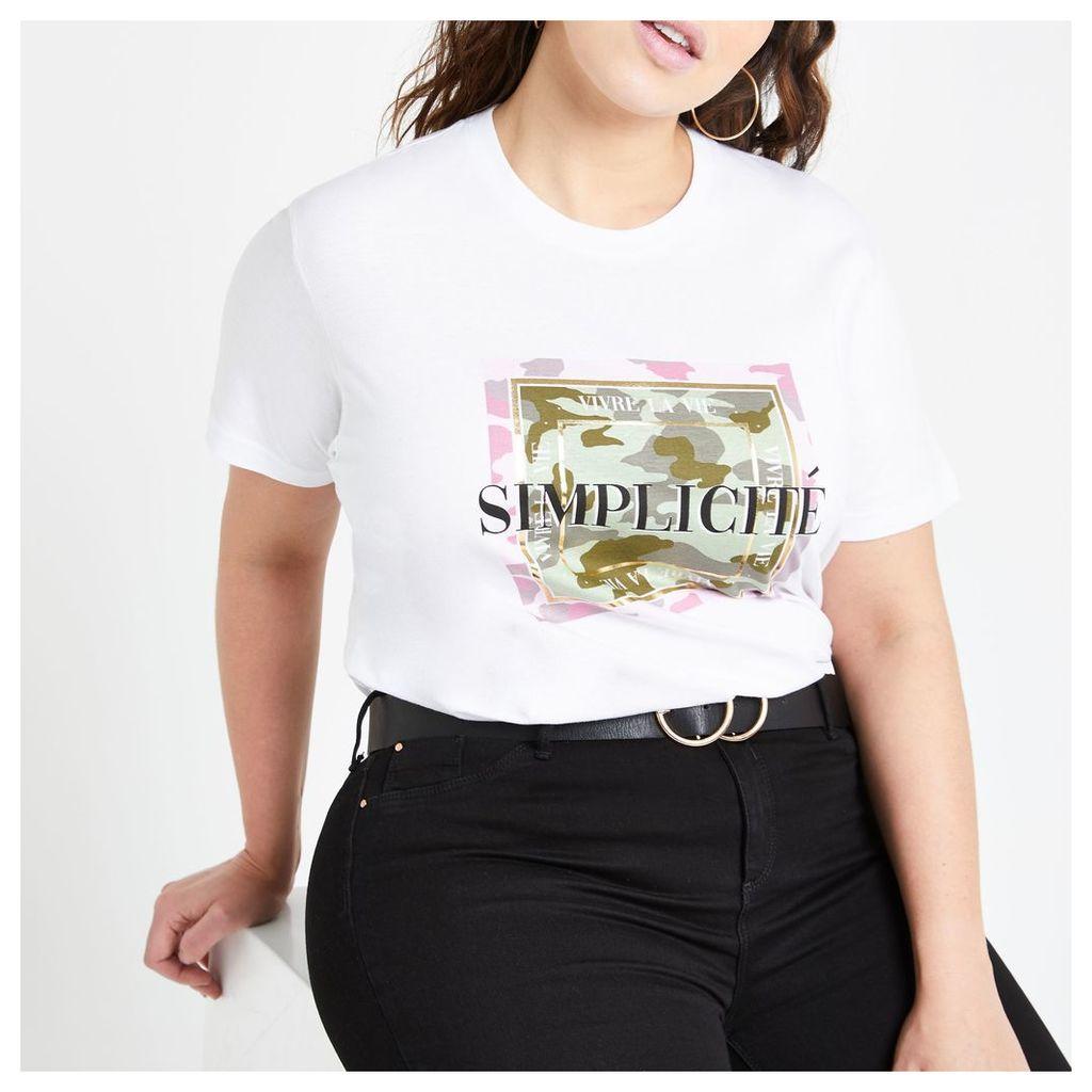 Womens Plus White camo printed T-shirt