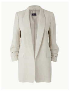 M&S Collection Pure Linen Open Front Patch Pocket Blazer