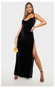 Black Velvet Cowl Neck Strappy Maxi Dress, Black