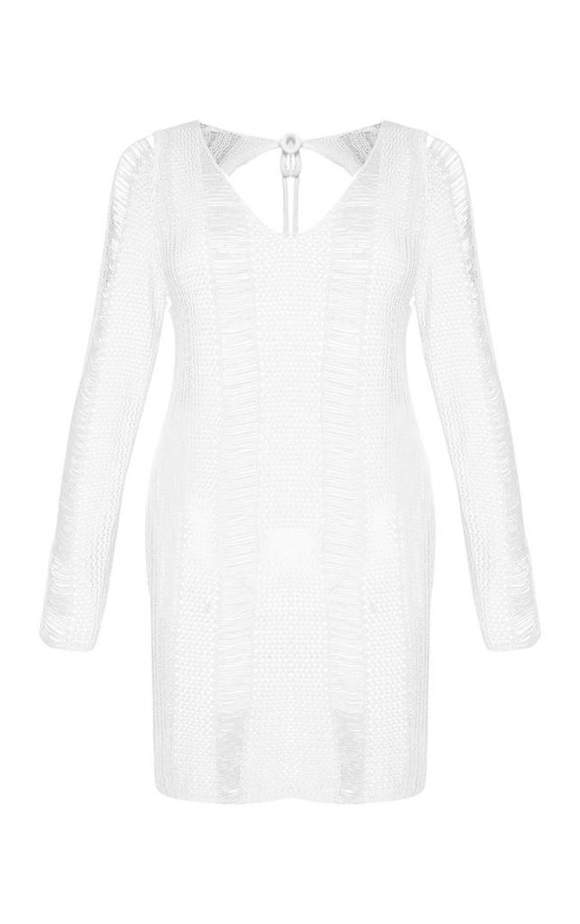 Stone Crochet Distressed Open Back Dress, White