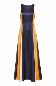 Sleeveless colour-block maxi dress in lustrous fabric