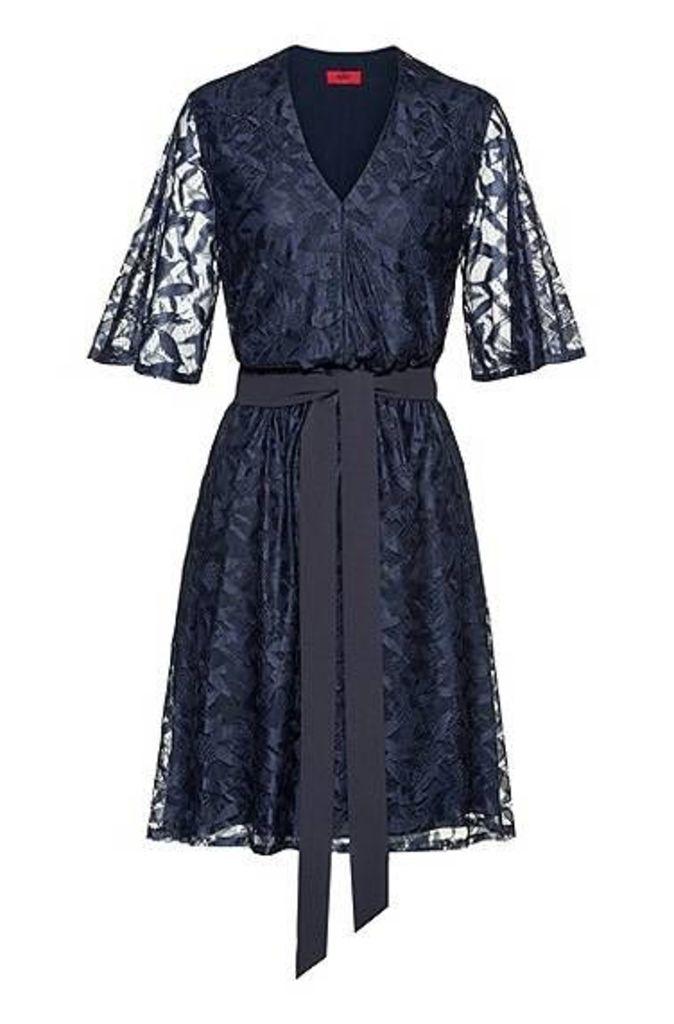 V-neck lace dress with tie belt