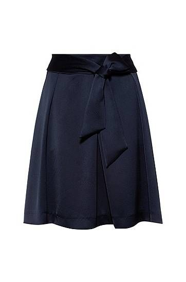 A-line skirt in hammered satin crepe with tie belt