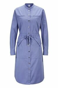 Relaxed-fit shirt dress with drawstring waist