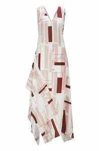 Fashion Show low-cut V-neck dress with geometric print