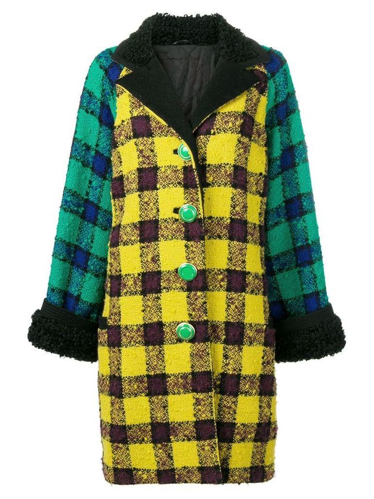 Versace Vintage 1990's oversized checked coat - Yellow