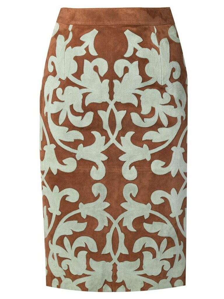 Valentino Vintage appliqué pattern pencil skirt - Brown
