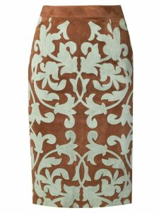 Valentino Pre-Owned appliqué pattern pencil skirt - Brown