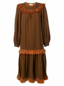 Yves Saint Laurent Pre-Owned 1980's fringed boho dress - Brown