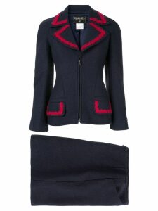 Chanel Pre-Owned CC Logos Button Setup Suit Jacket Skirt - Blue
