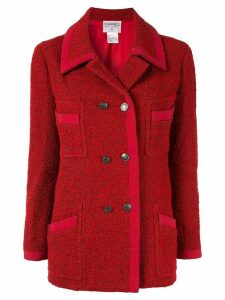 Chanel Pre-Owned CC logos button long sleeve coat jacket - Red