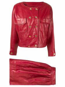 Chanel Pre-Owned CC logos setup suit jacket skirt - Red