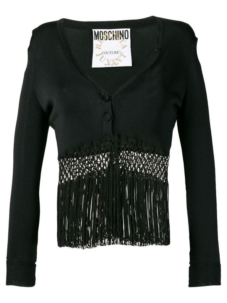 Moschino Vintage 1990's fringed cardigan top - Black