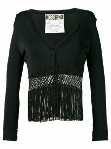 Moschino Pre-Owned 1990's fringed cardigan top - Black