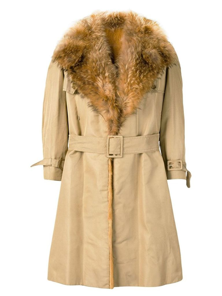 A.N.G.E.L.O. Vintage Cult 1970's fur trimmed trench coat - Neutrals