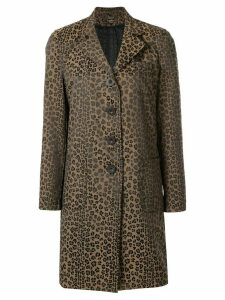 Fendi Pre-Owned FENDI Leopard Long Sleeve Coat - Brown