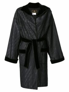 Fendi Pre-Owned FF motif belted coat - Black