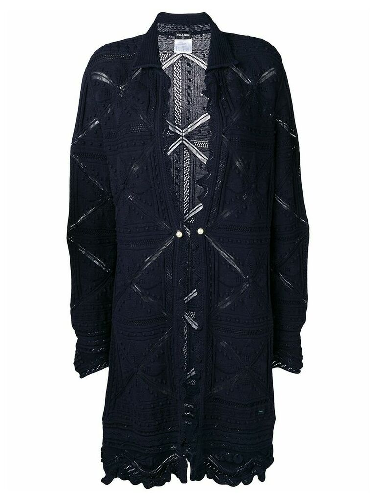 Chanel Vintage 2004 cardigan coat - Blue