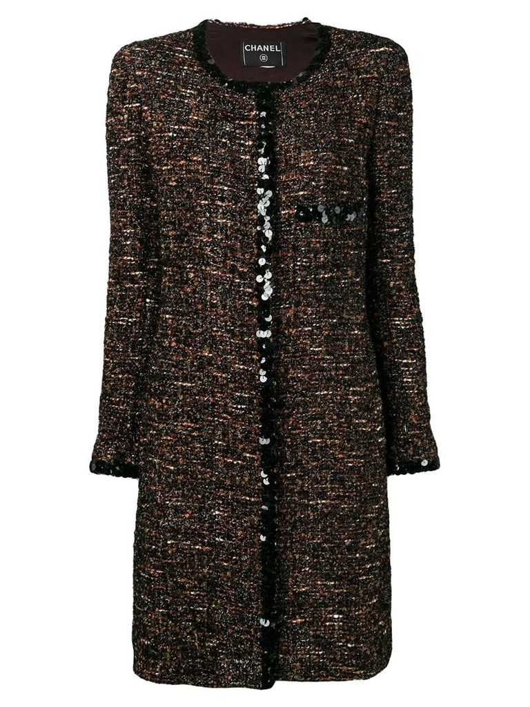 Chanel Vintage 2000's bouclé tweed coat - Brown