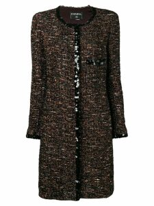 CHANEL PRE-OWNED 2000's bouclé tweed coat - Brown