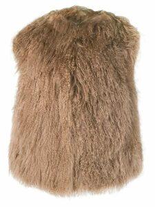 A.N.G.E.L.O. Vintage Cult 1980's shaggy fur gilet - Neutrals