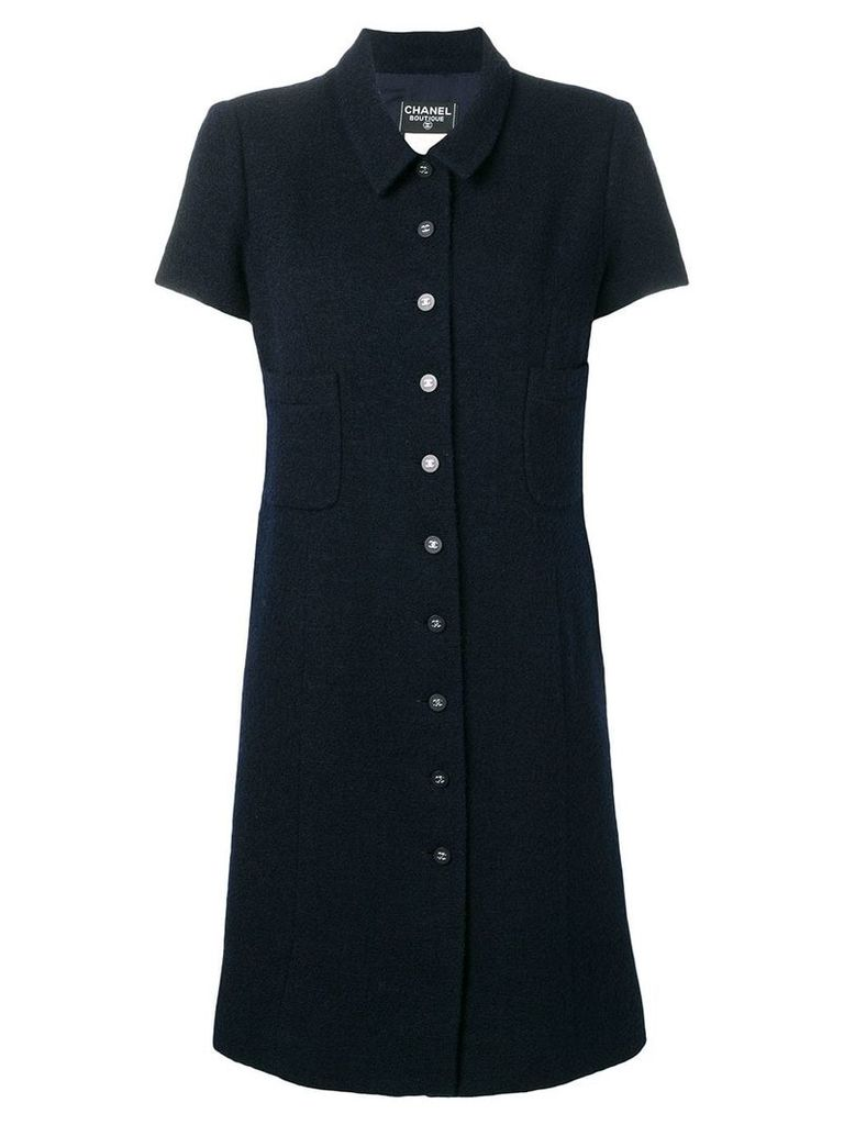 Chanel Vintage 1996 woven shirt dress - Blue