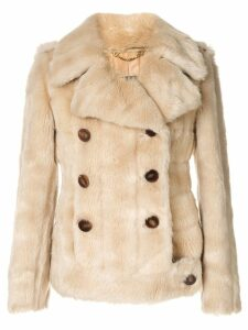 Gucci Pre-Owned Logos Long Sleeve Fur Coat Jacket - Brown